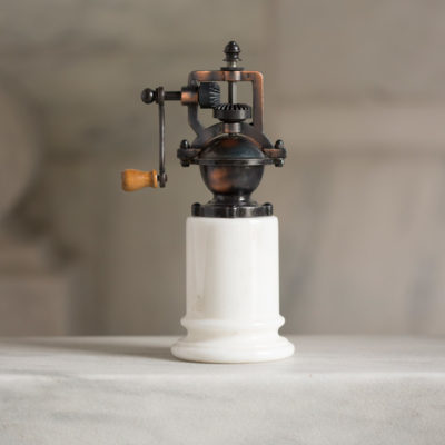Old Fashioned Pepper Mill in white marble