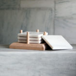 Danby White Marble Coaster set in Vermont Maple wood base