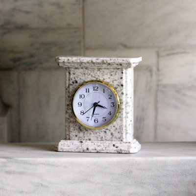 Large Mantel Clock Granite Bethel White