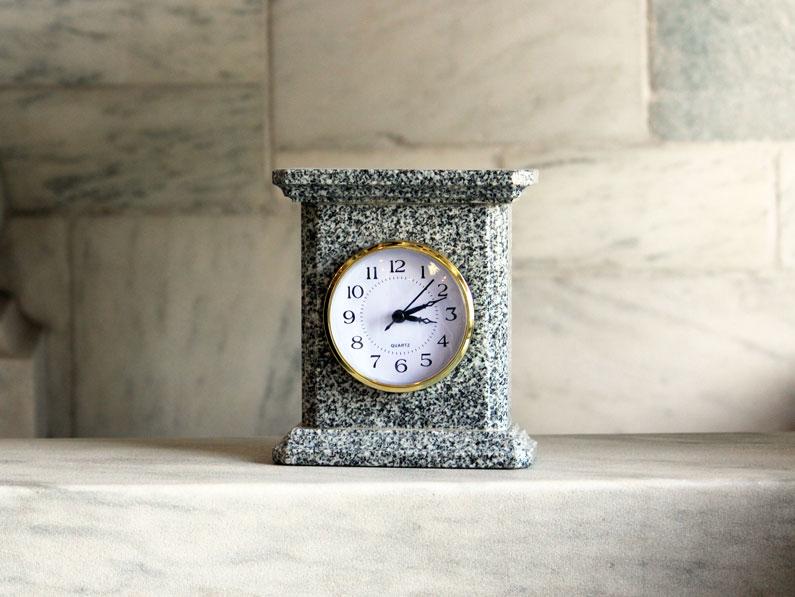 Granite Mantel Clock Barre Gray